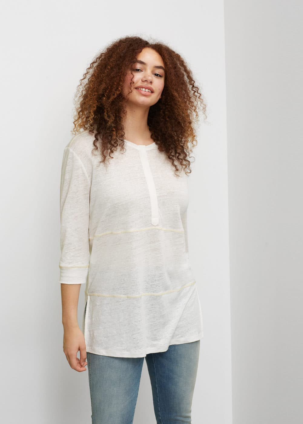 Long linen t-shirt | MANGO