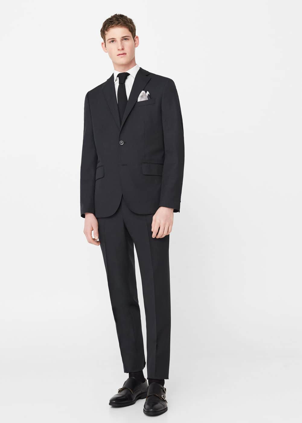 Regular-fit wool suit blazer | MANGO MAN