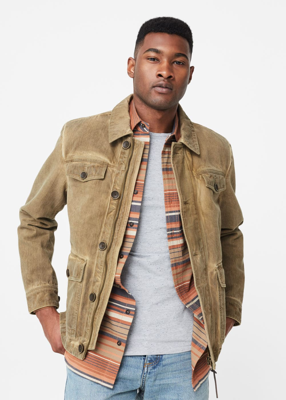 Washed cotton jacket | MANGO