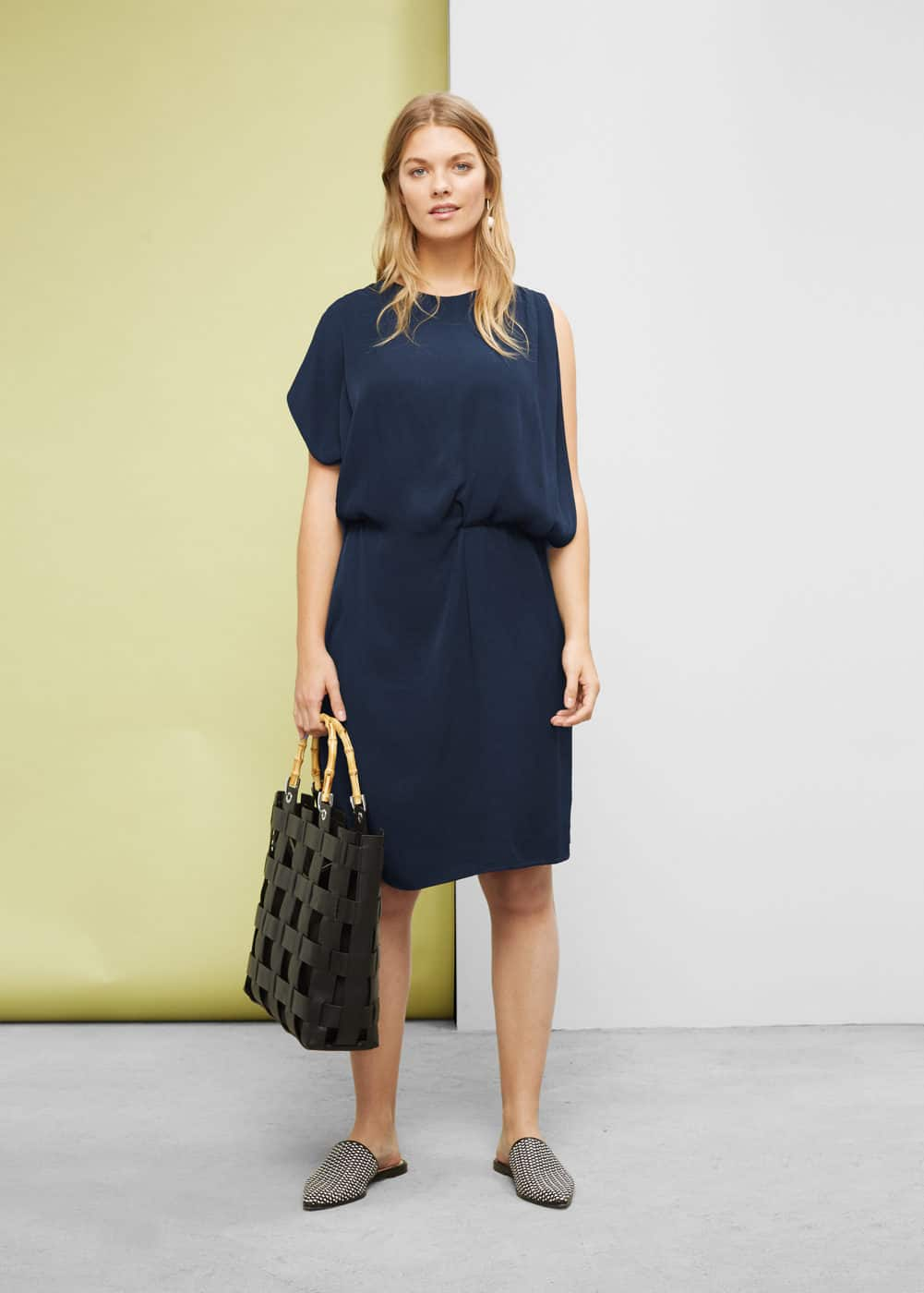 Asymmetrical sleeve dress | VIOLETA BY MANGO