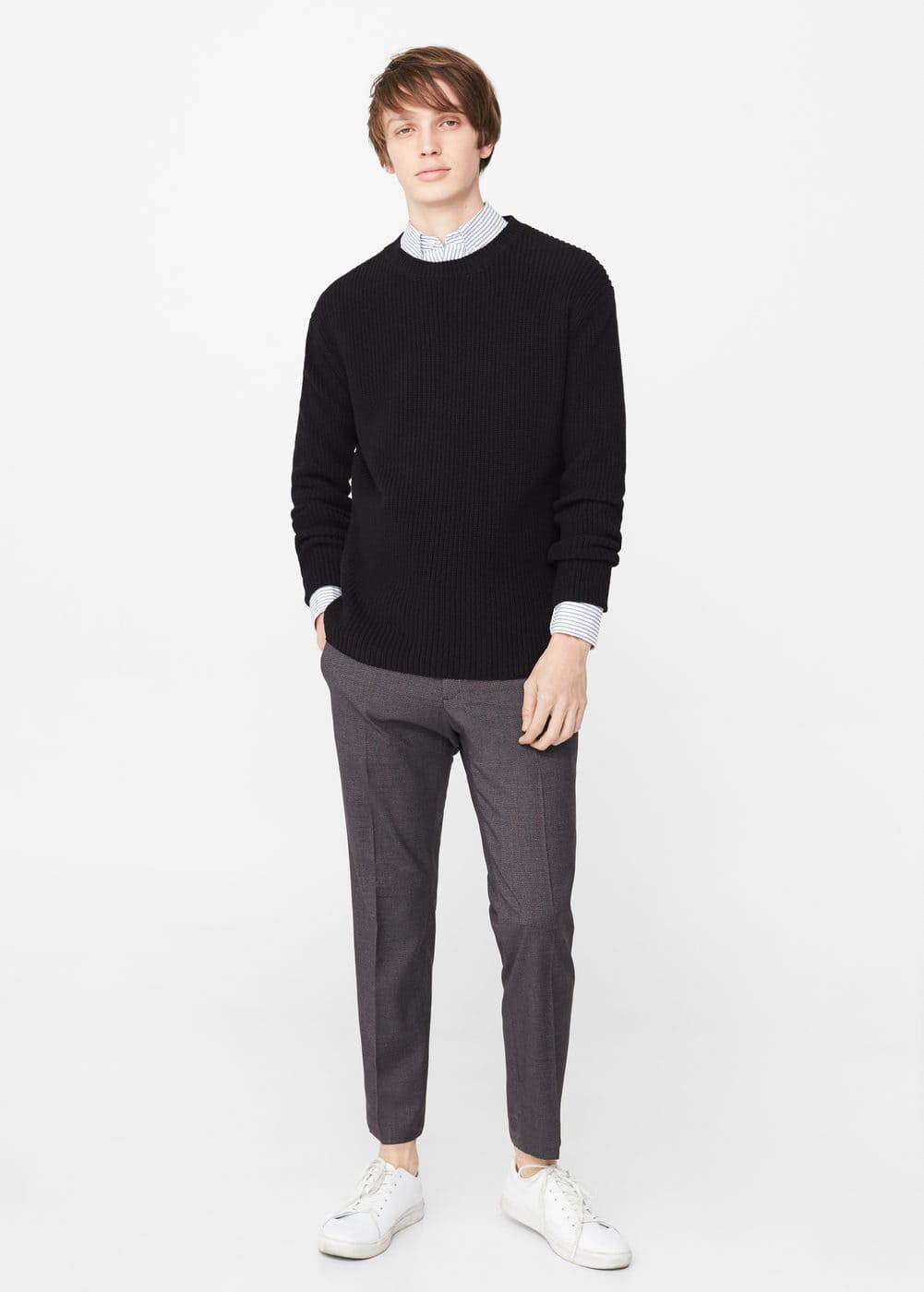 Ribbed cotton-blend sweater | MANGO MAN