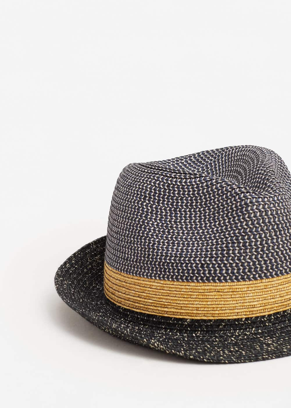 Tricolor straw hat | MANGO MAN