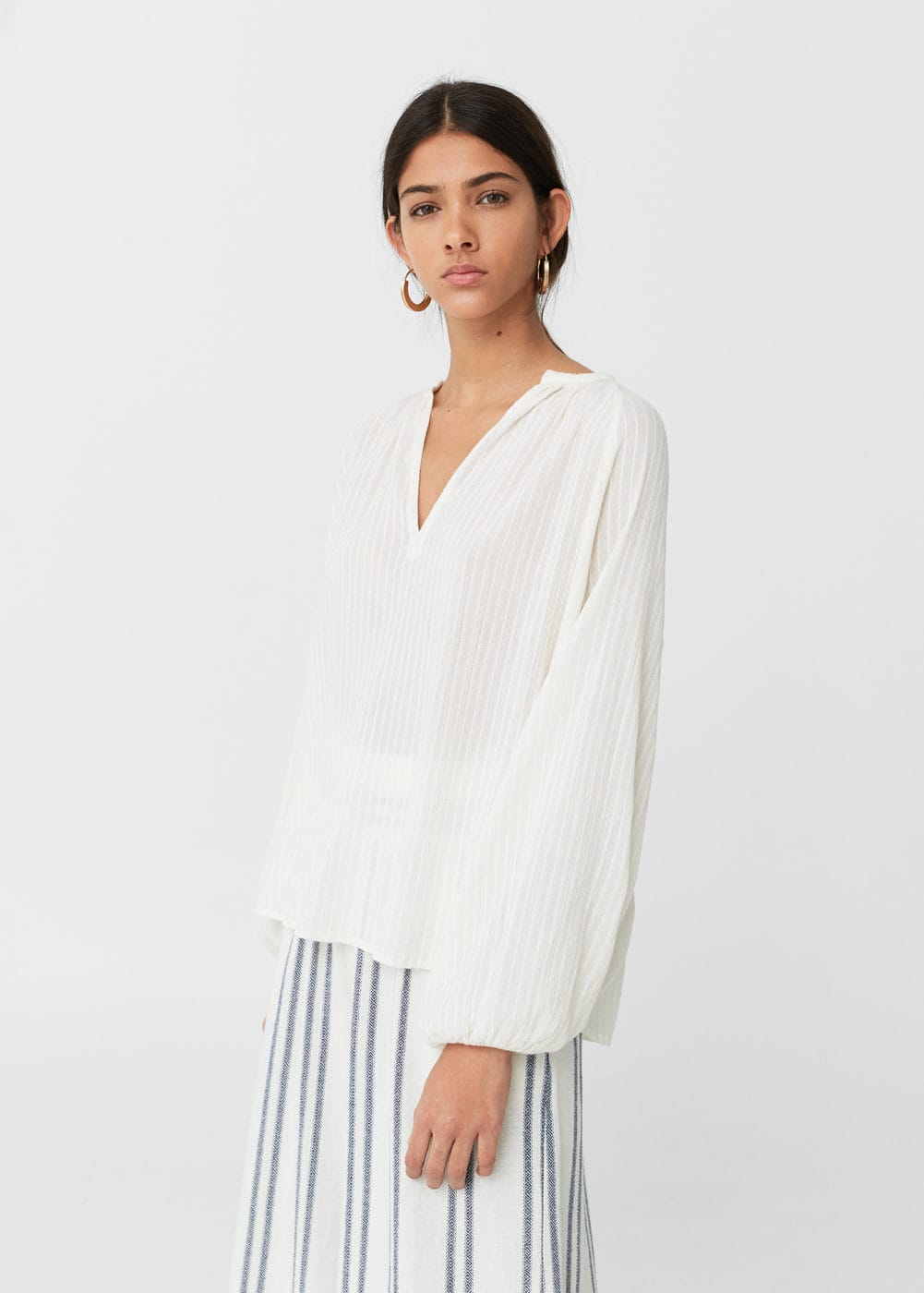 Textured cotton blouse | MANGO