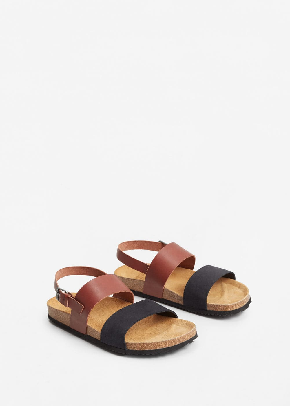 Leather bio sandals | MANGO MAN