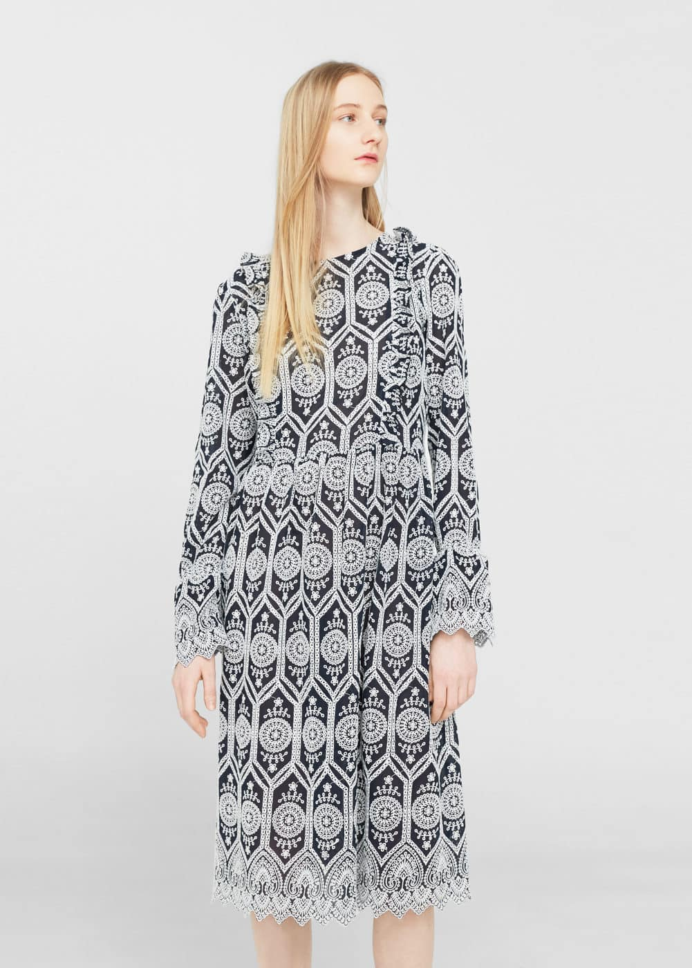 Embroidered cotton dress | MANGO
