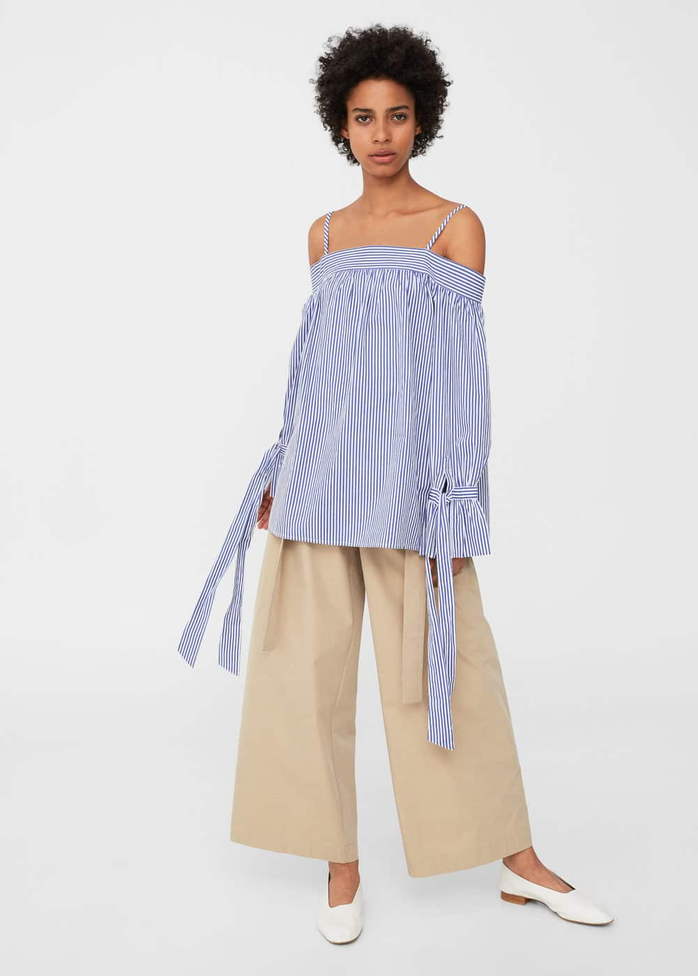 Gestreifte off-shoulder bluse | MANGO