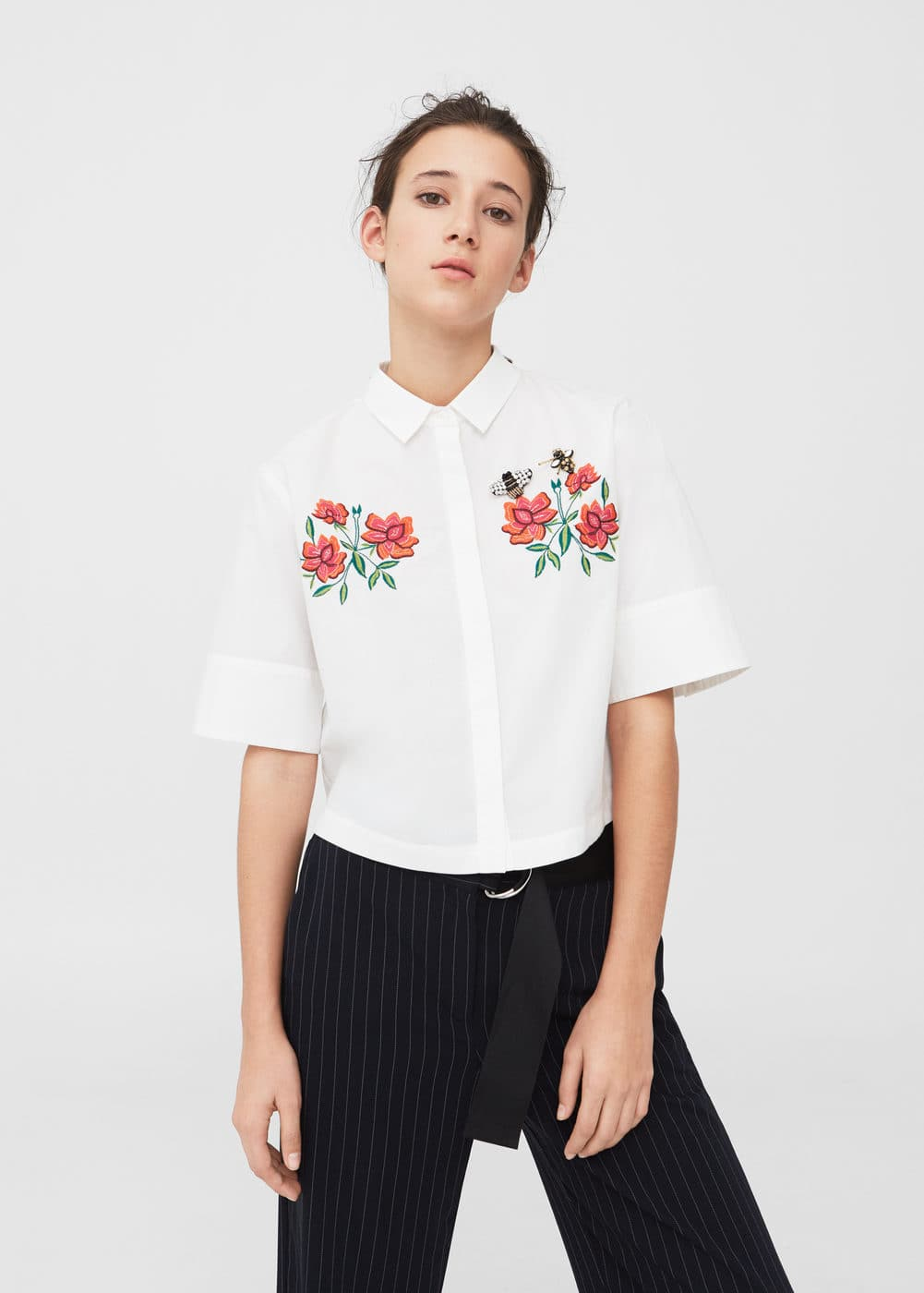 Embroidered shirt | MANGO