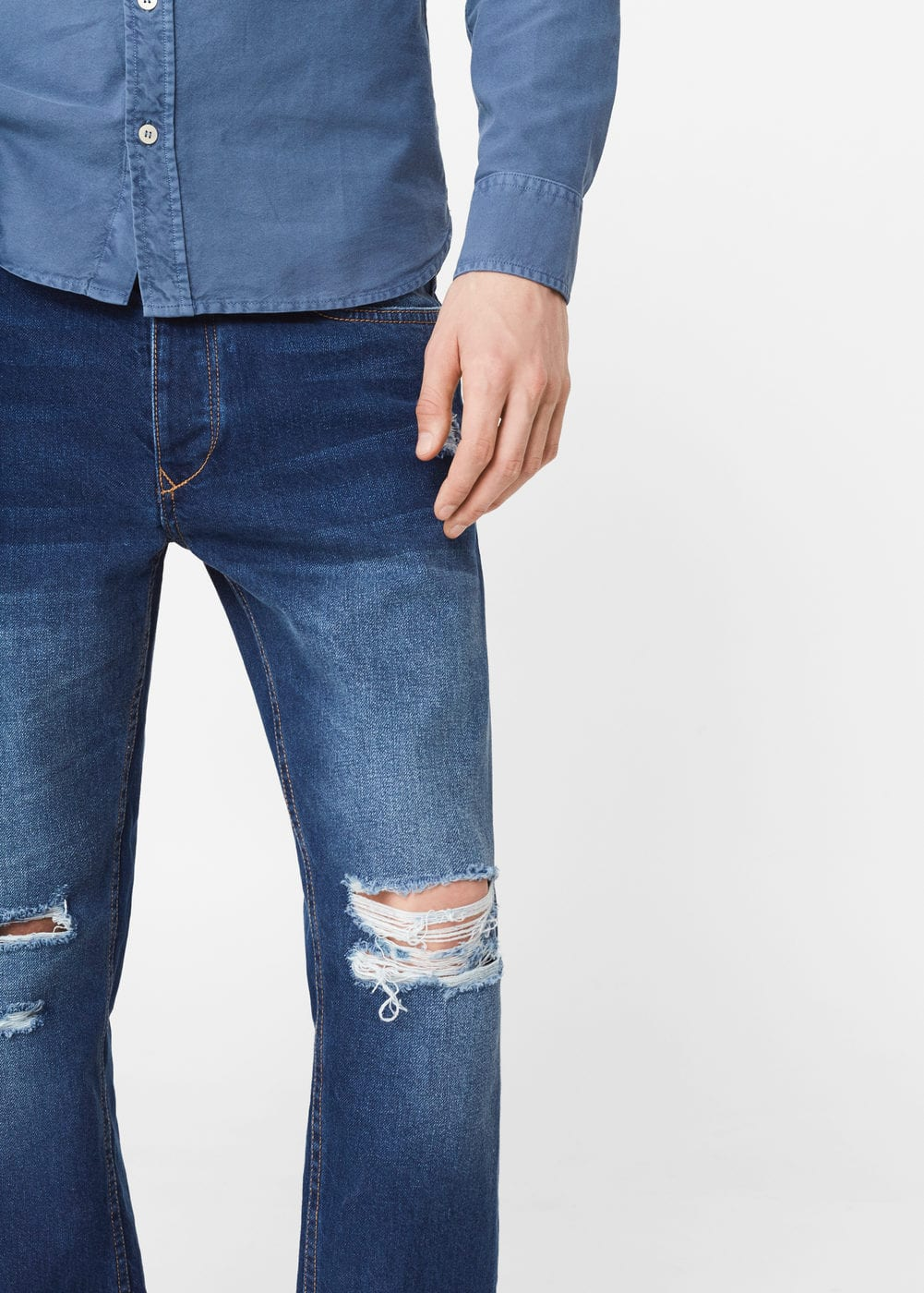 Cropped slim-fit ethan jeans | MANGO