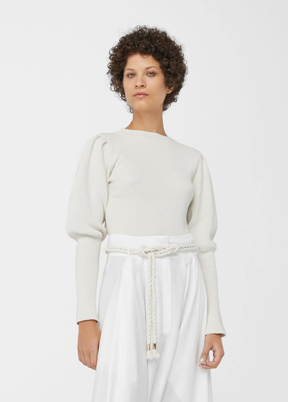 Cropped cotton-blend sweater | MANGO