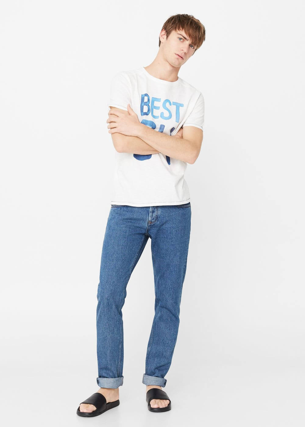 Number cotton-blend t-shirt | MANGO