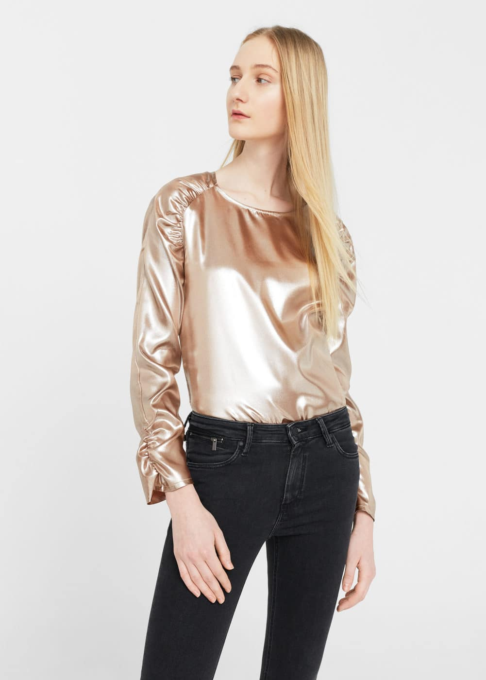 Metallic blouse | MANGO
