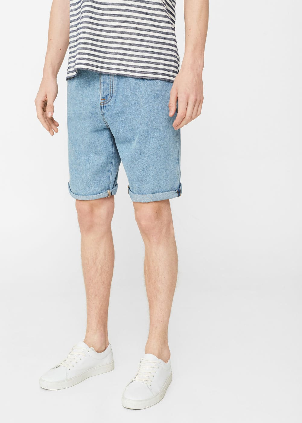 Light wash denim bermuda shorts | MANGO MAN