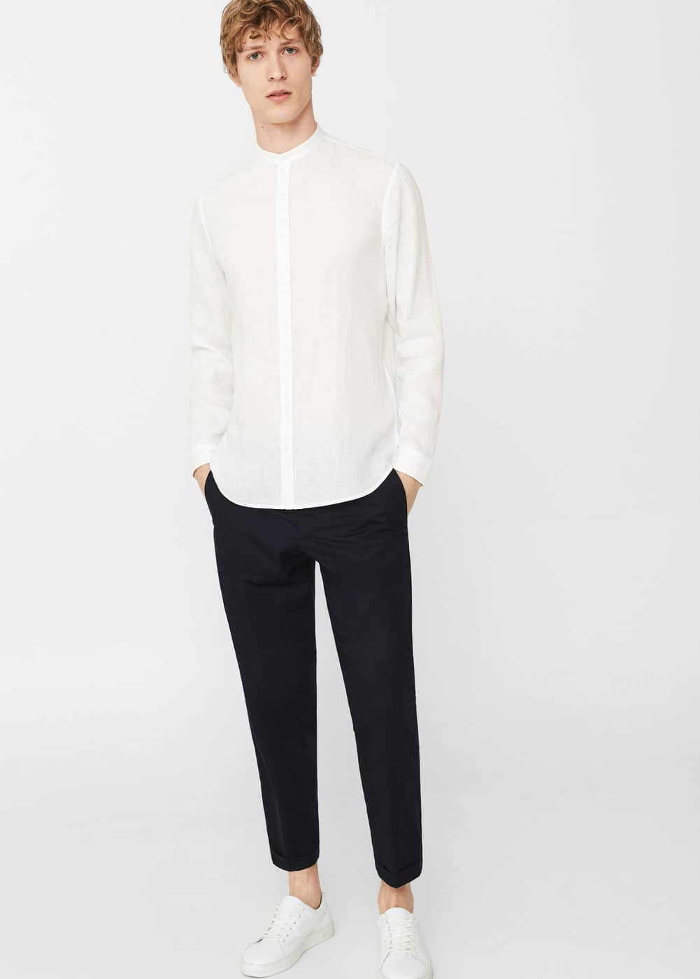 Slim-fit mao collar linen shirt | MANGO MAN