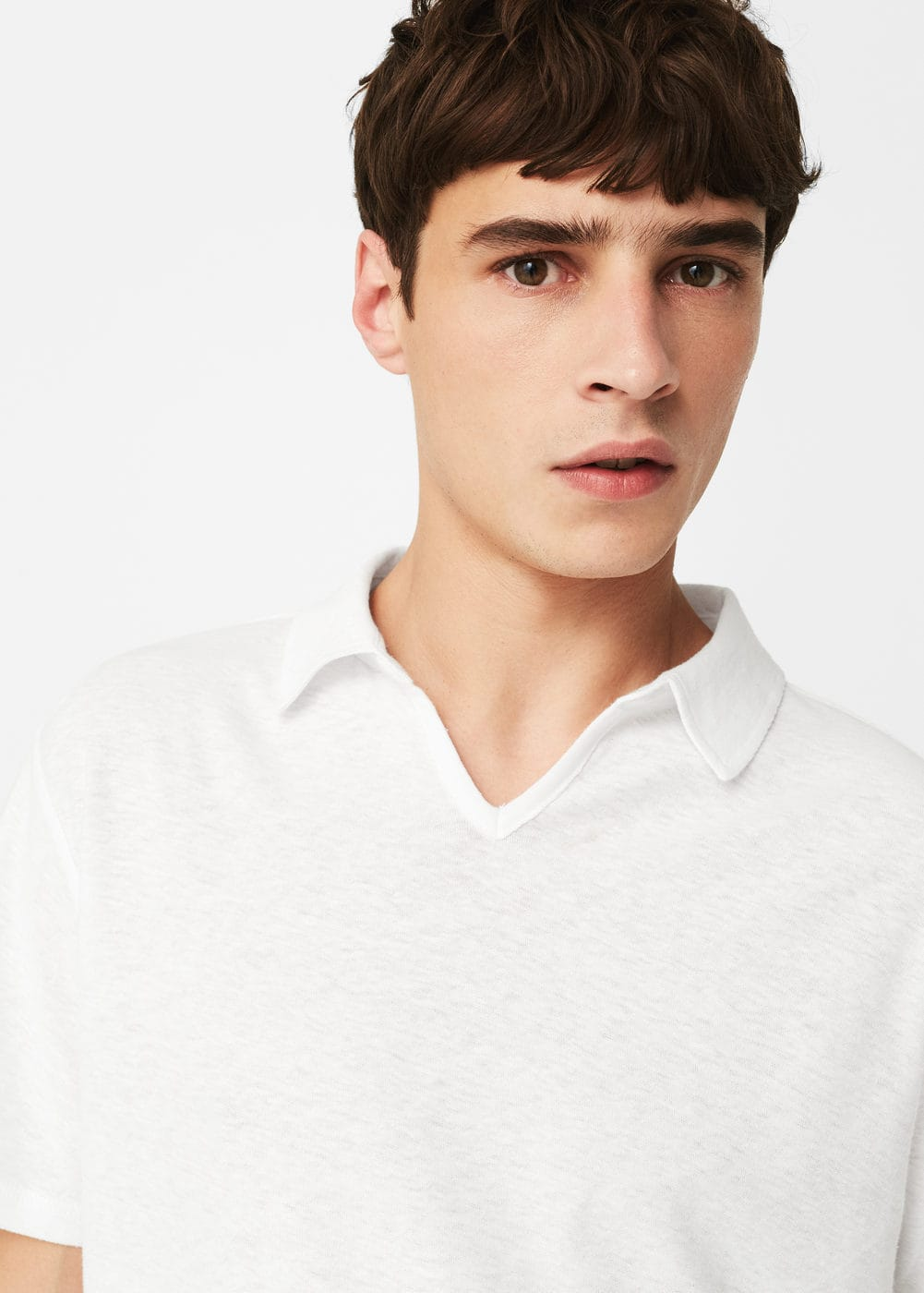 Cotton linen-blend polo shirt | MANGO