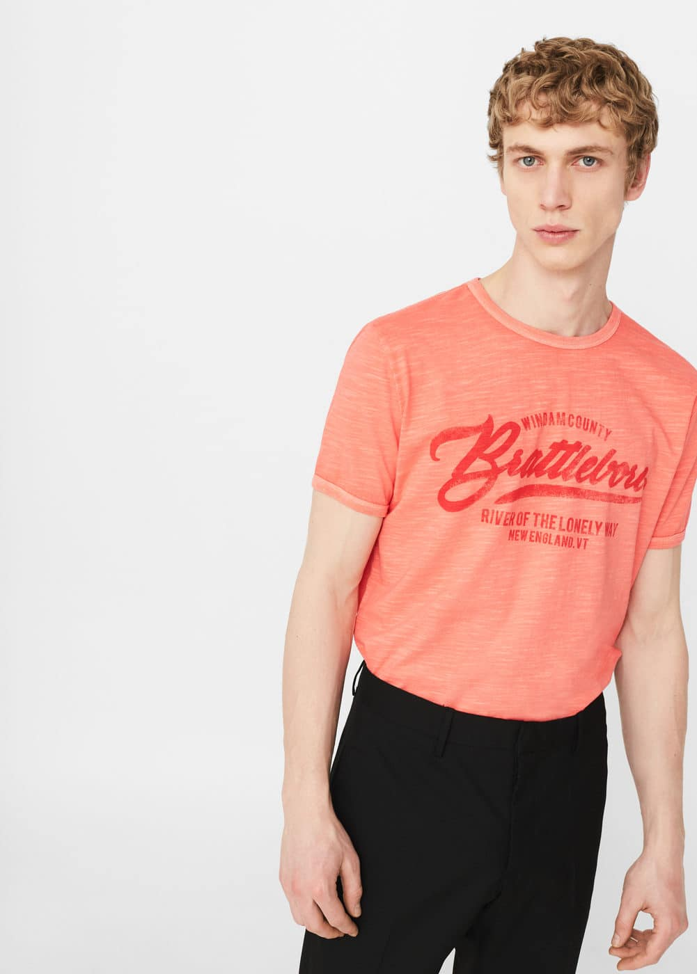 Message cotton t-shirt | MANGO MAN