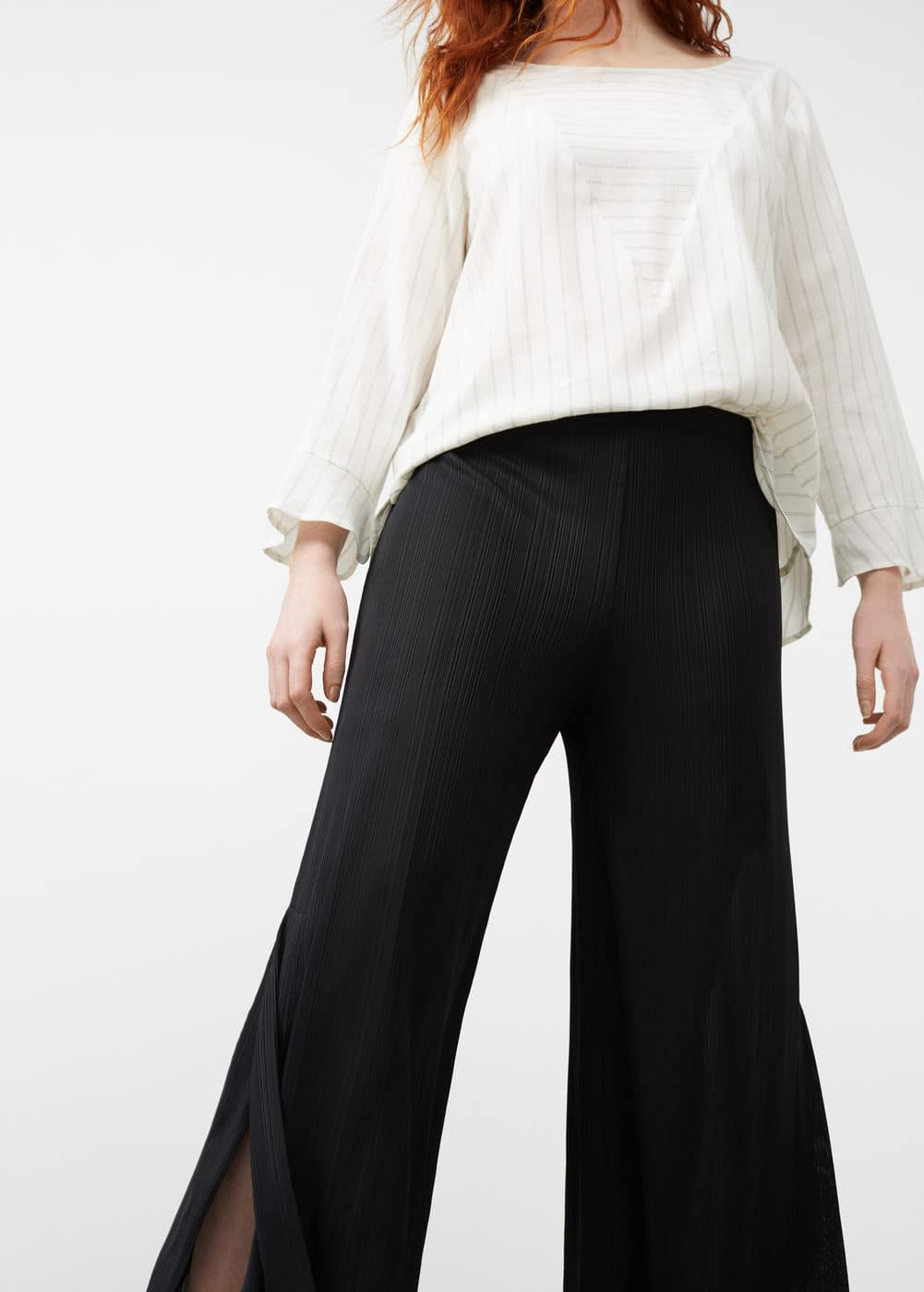 Side slit flowy trousers | VIOLETA BY MANGO