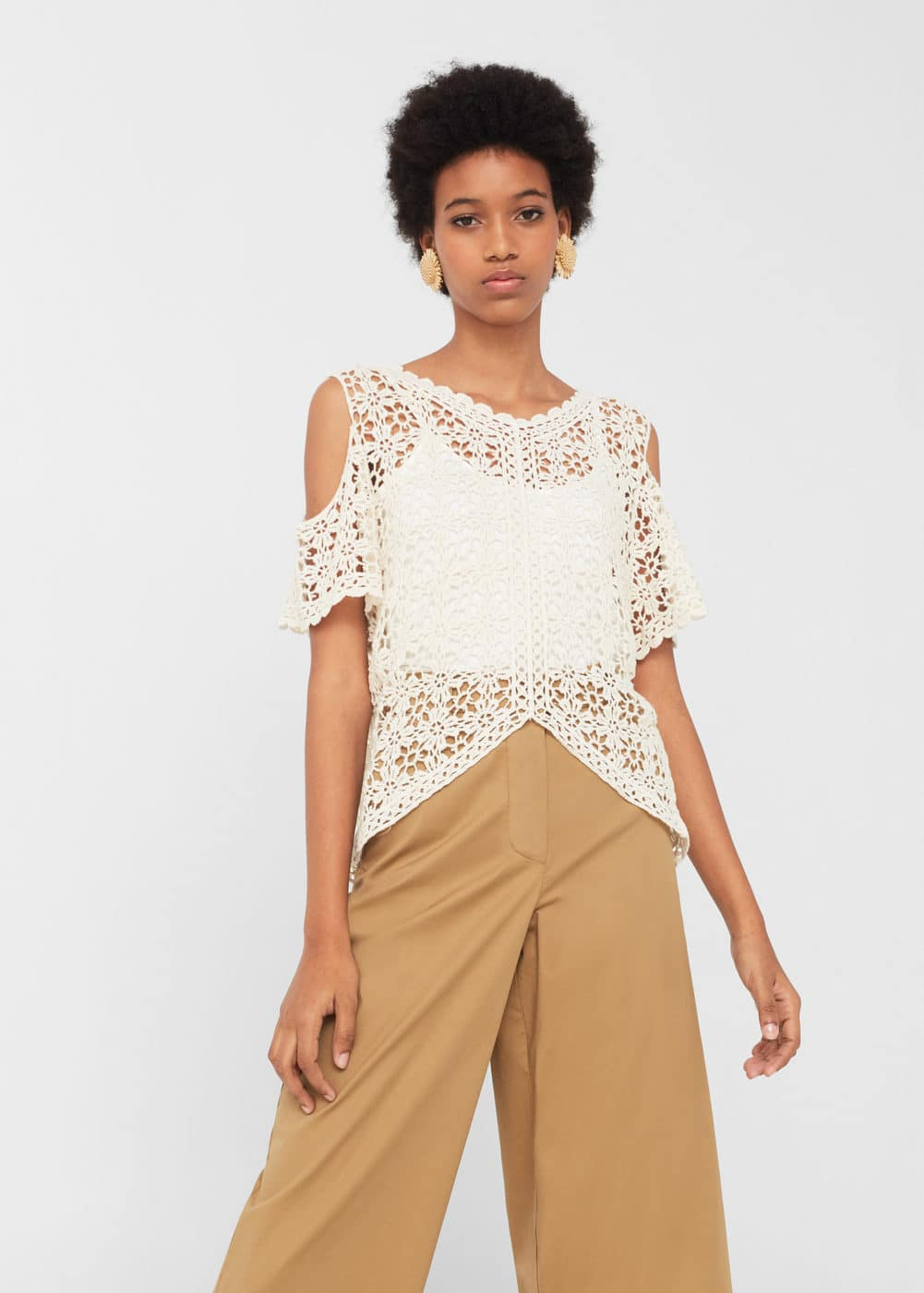 Top off-shoulder ganxet | MANGO