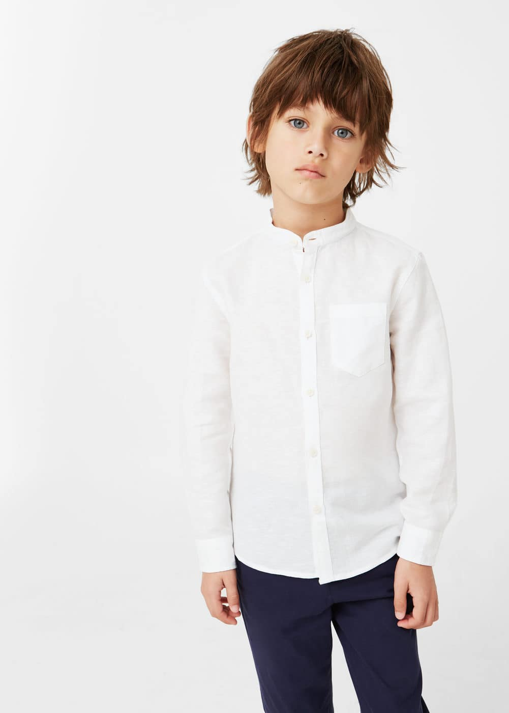 Mao collar linen shirt | MANGO