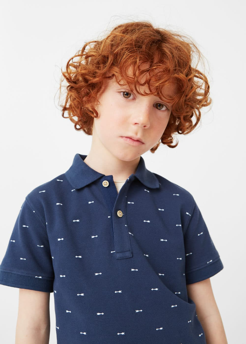Printed cotton piqué polo shirt | MANGO