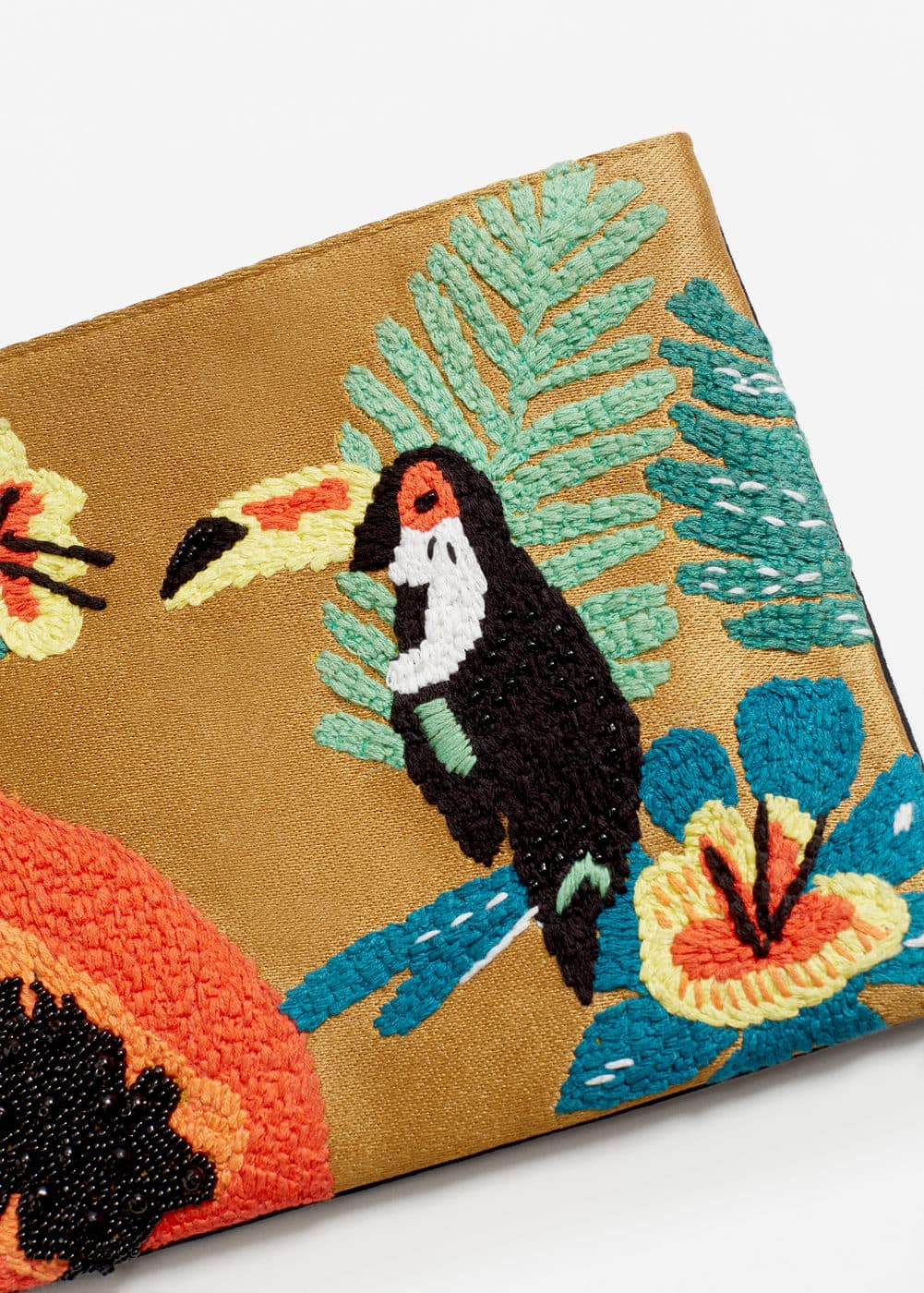 Embroidered leather clutch | MANGO