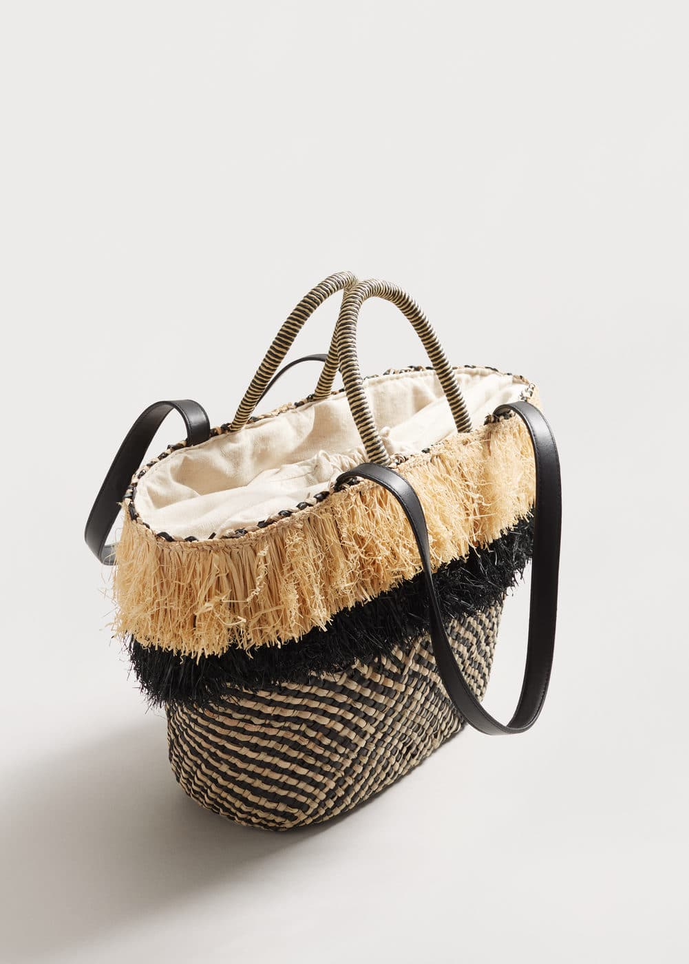 Raffia basket bag | VIOLETA BY MANGO