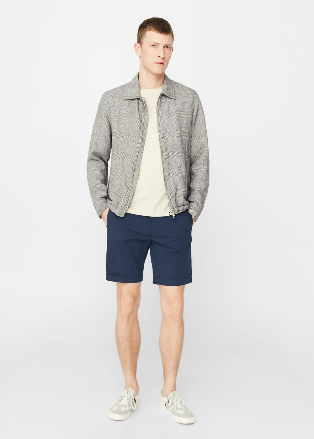 Striped cotton bermuda shorts | MANGO MAN