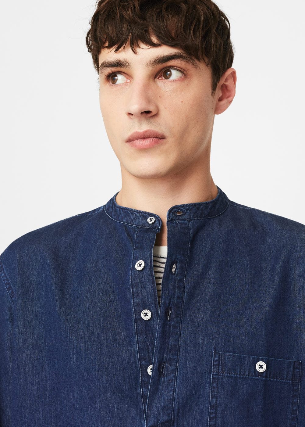 Camisa denim cuello mao | MANGO
