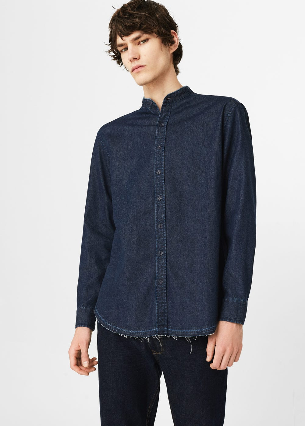 Dark wash regular-fit denim shirt | MANGO