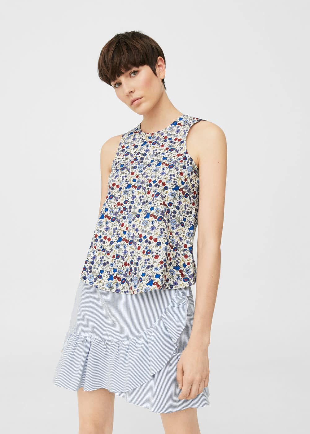 Ruffled hem top | MANGO