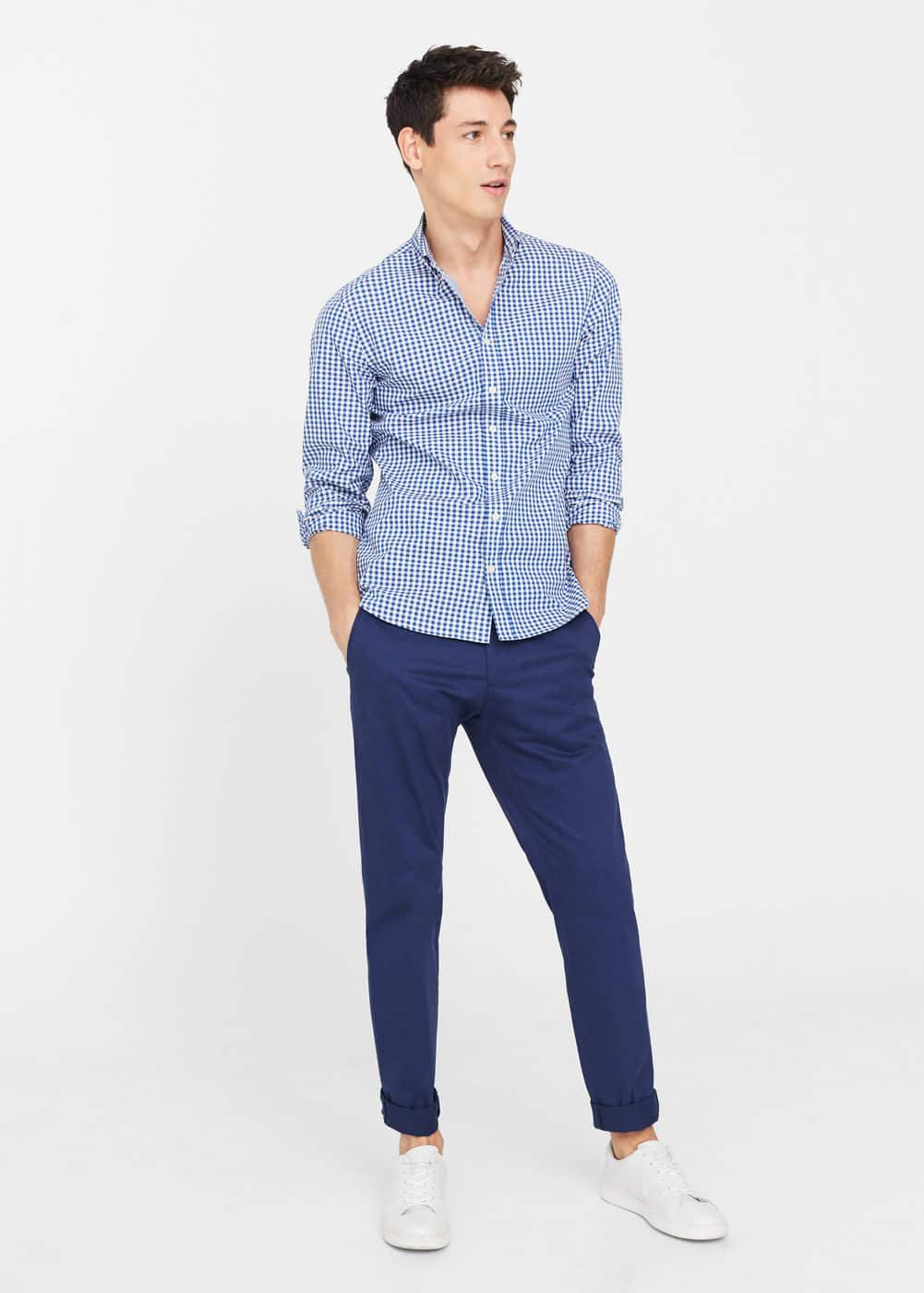 Slim-fit gingham check shirt | MANGO
