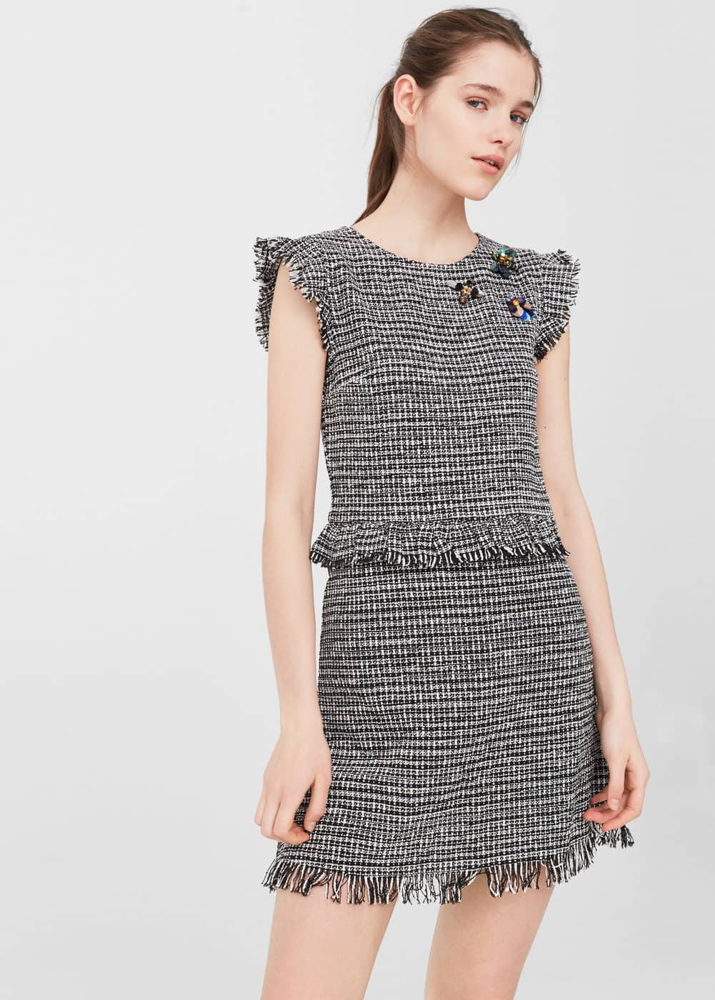 Beaded tweed dress | MANGO