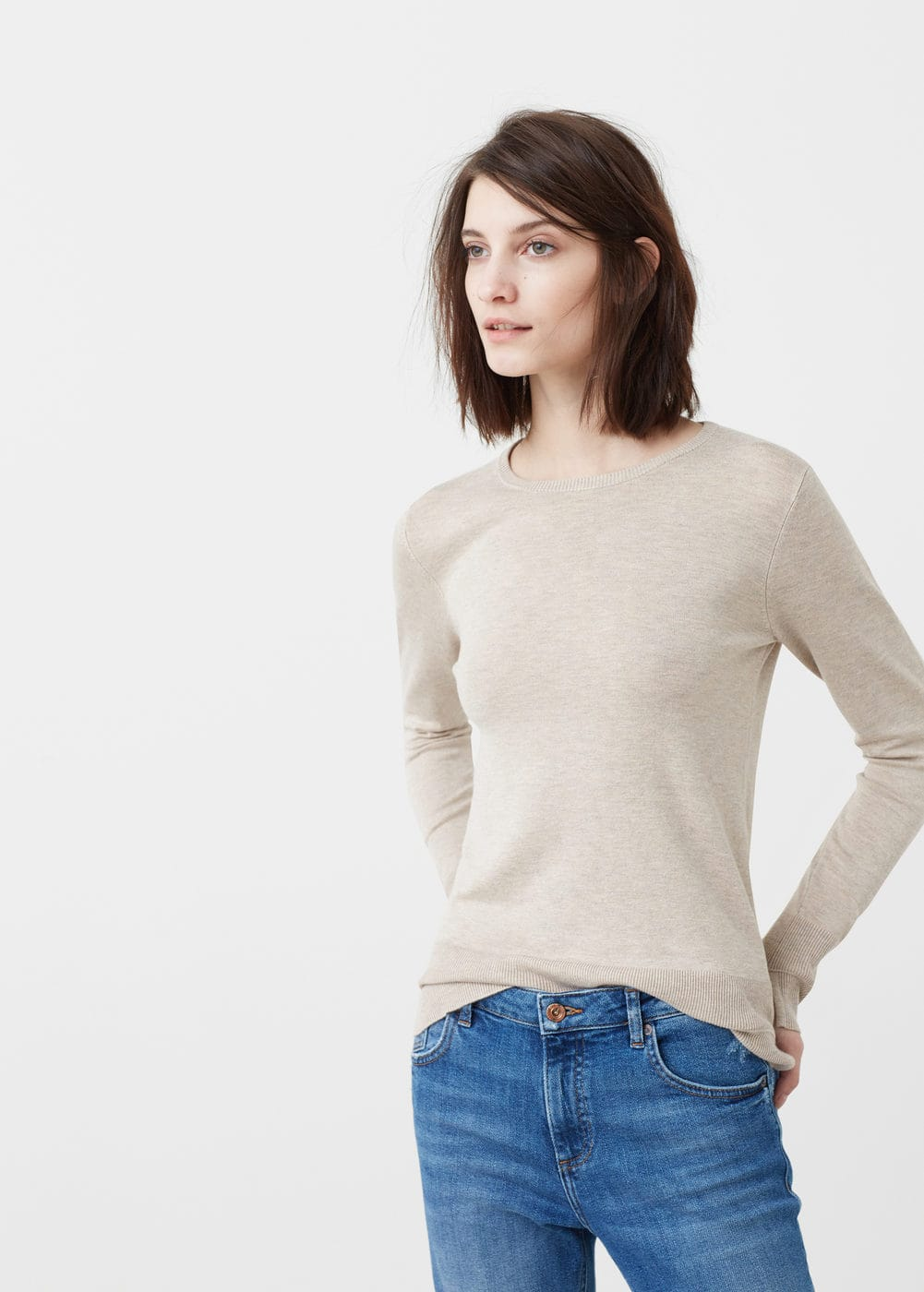 Ribbed edges sweater | MANGO