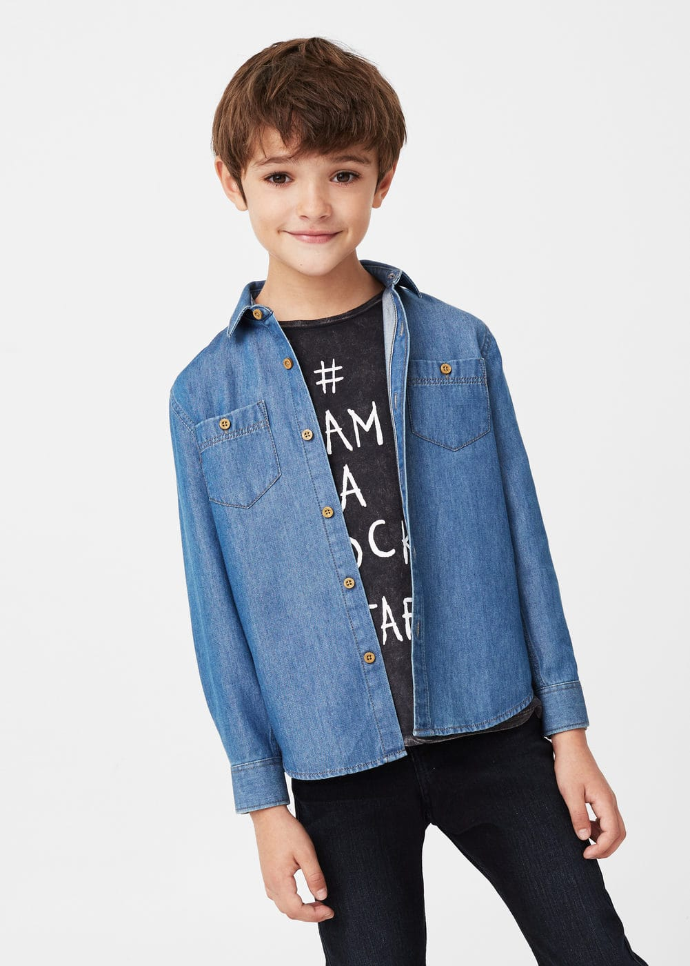 Medium wash denim shirt | MANGO KIDS