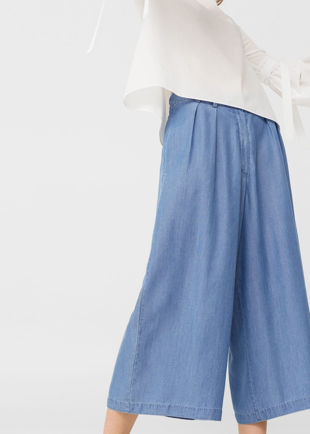 Flowy cropped trousers | MANGO