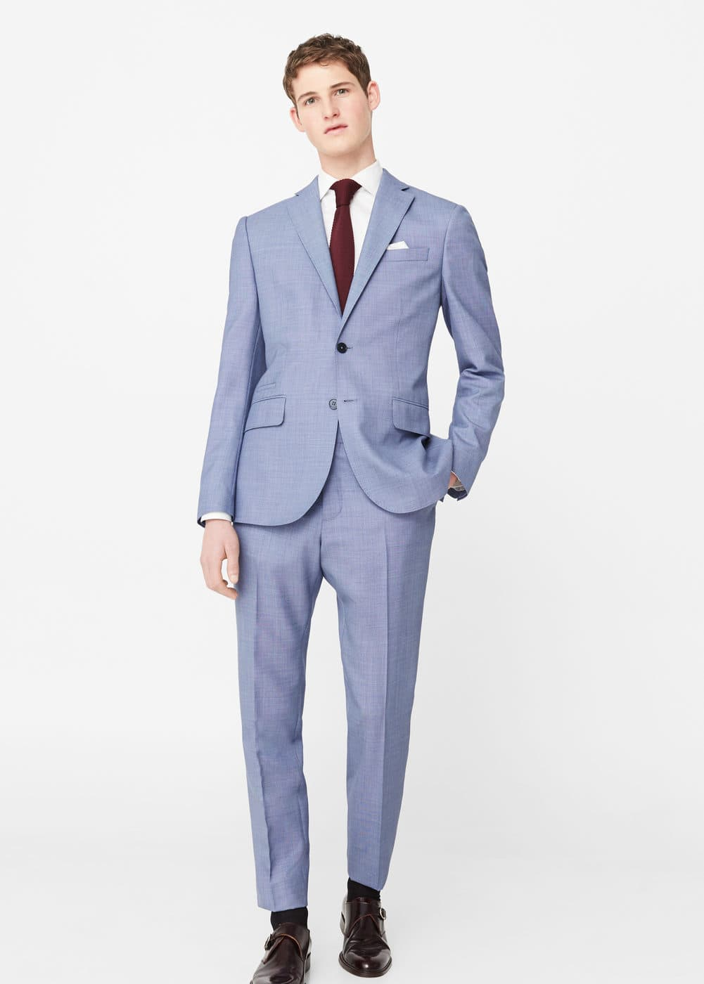 Regular-fit cold wool suit blazer | MANGO MAN