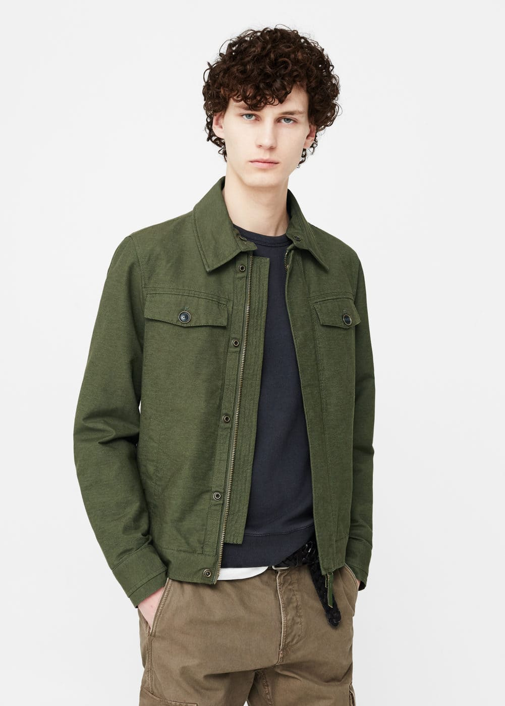 Cotton-blend canvas jacket | MANGO MAN