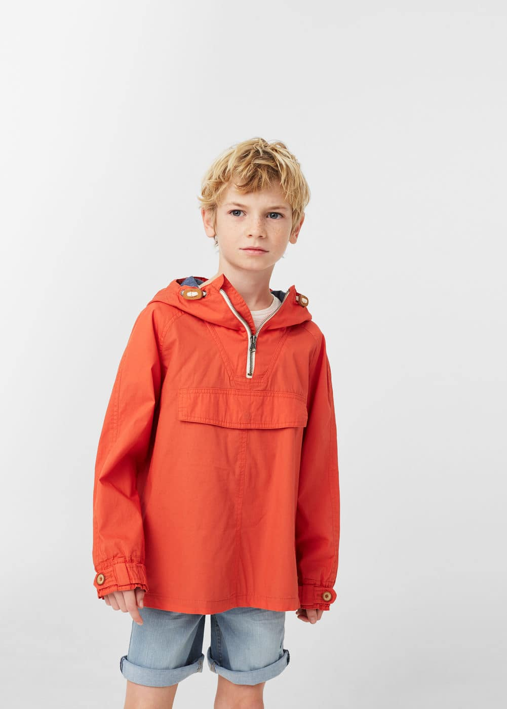Hooded pouch pocket jacket | MANGO KIDS