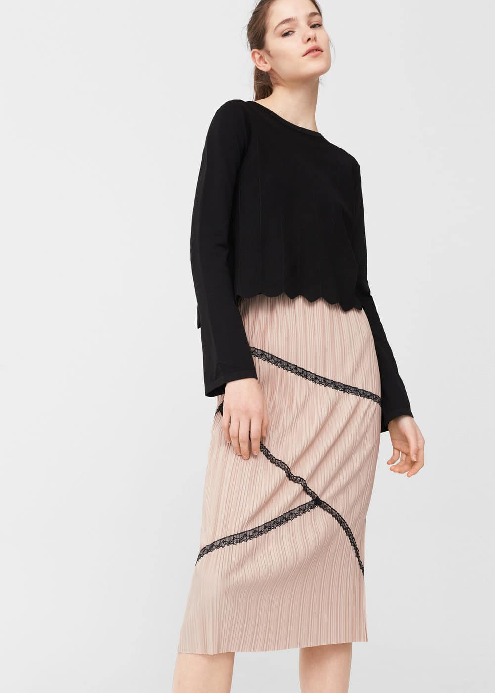 Lace pleated skirt | MANGO