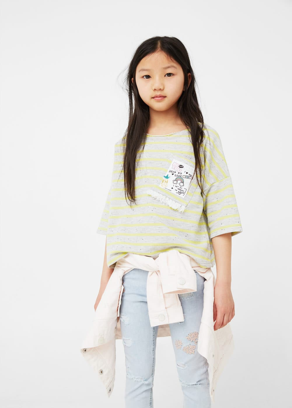 Chest-pocket crop sweatshirt | MANGO KIDS