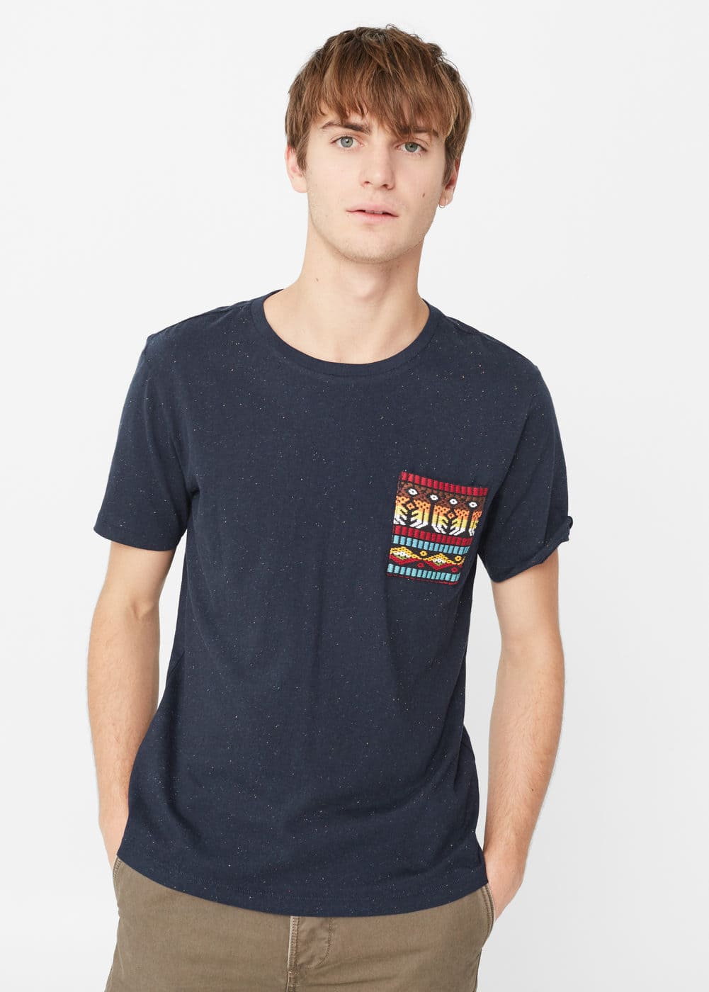 Contrast chest-pocket t-shirt | MANGO MAN