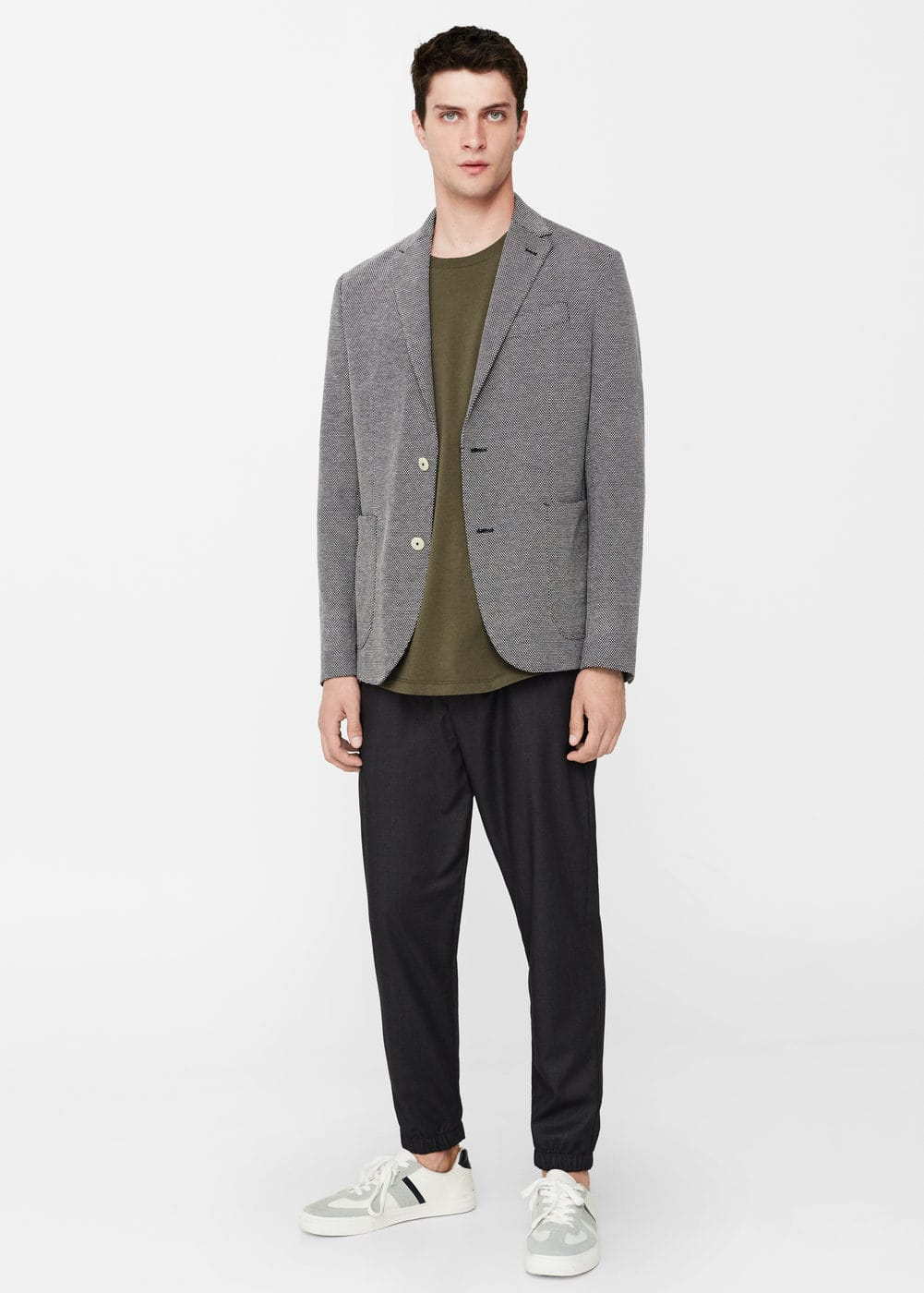 Slim-fir bird's eye blazer | MANGO MAN