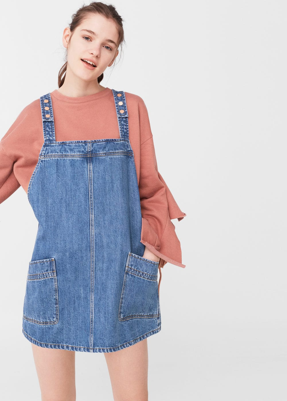Medium denim dungarees | MANGO