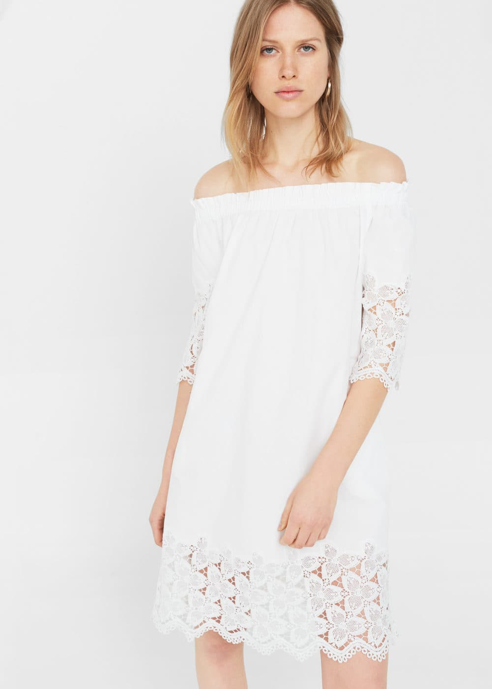 Vestido off-shoulder popelín | MANGO