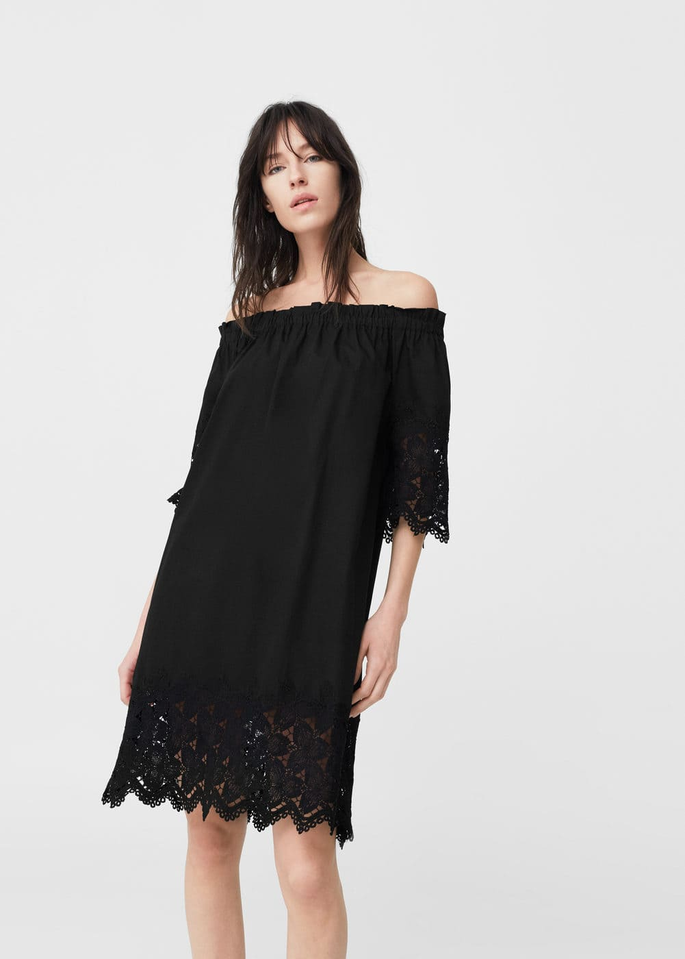 Vestit off-shoulder popelín | MANGO