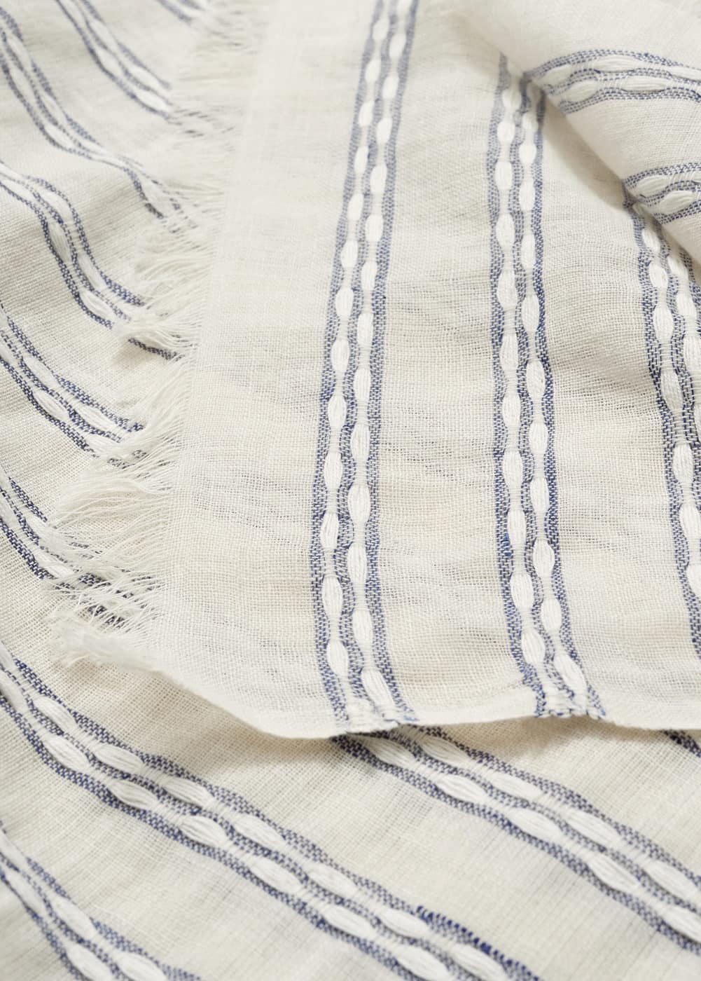 Stripe-pattern cotton scarf | MNG