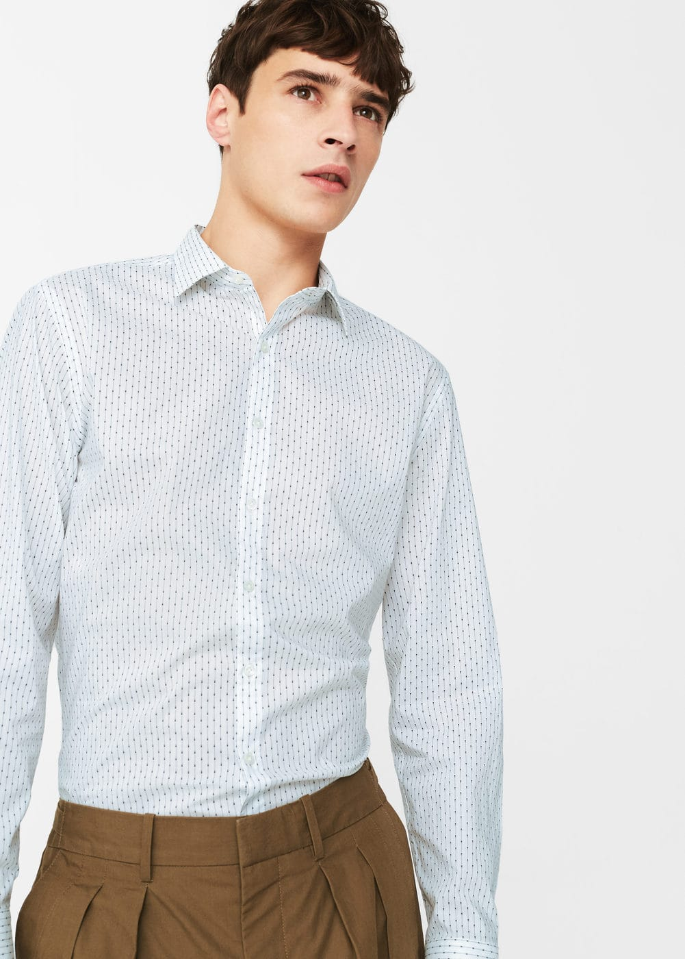 Classic-fit printed cotton shirt | MANGO MAN