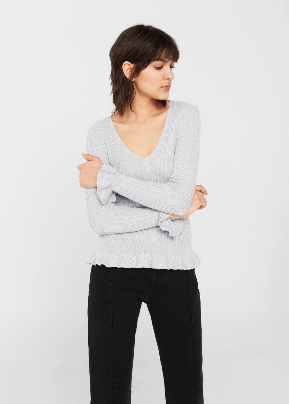 Ruffled metallic sweater | MANGO
