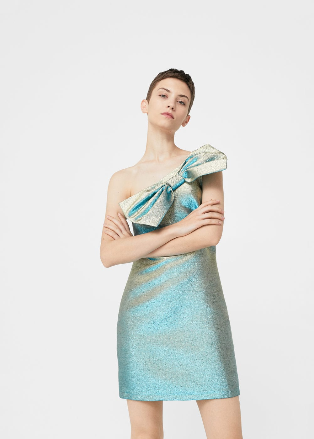 Bow metallic dress | MANGO