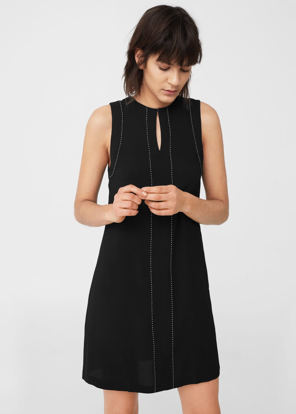 Stitched detail dress | MANGO