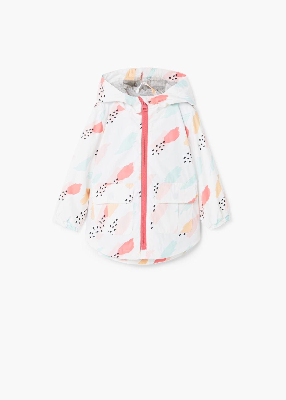 Hooded printed jacket | MANGO